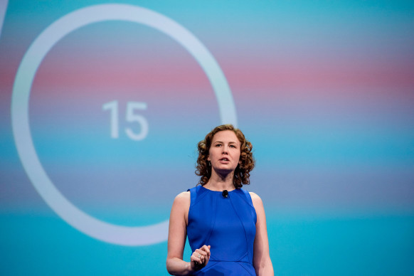 Ellie Powers, product manager of Google Play for Google Inc., speaks during the Google I/O Annual Developers Conference in San Francisco.